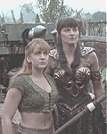 Rene&eacute O'Connor as Gabrielle and Lucy Lawless as Xena